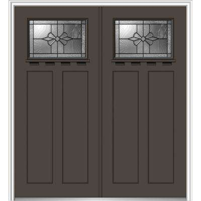 64 in. x 80 in. Dahlia Left-Hand Inswing 1/4-Lite Decorative Painted Fiberglass Smooth Prehung Front Door with Shelf