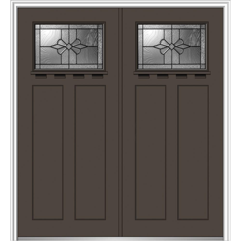 72 in. x 80 in. Dahlia Left-Hand Inswing 1/4-Lite Decorative Painted Fiberglass Smooth Prehung Front Door with Shelf