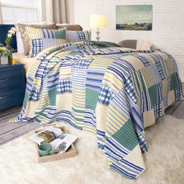 Lavish Home Lynsey Yellow Polyester Full and Queen Quilt 66-10044-FQ