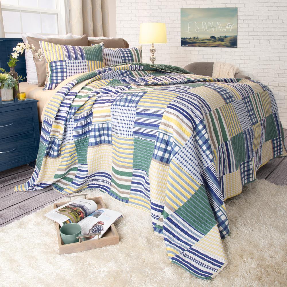 Lavish Home Lynsey Yellow Polyester King Quilt 66-10044-K