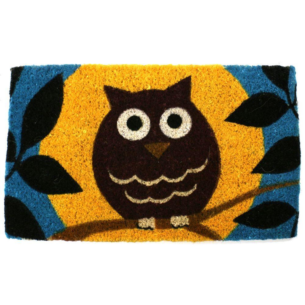Entryways Wise Owl 18 in. x 30 in. Hand Woven Coir Door Mat