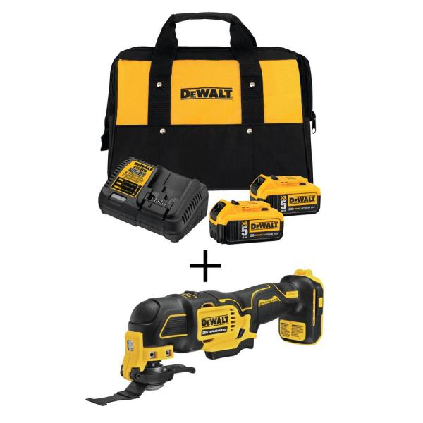 ATOMIC 20-Volt MAX Lithium Ion Brushless Cordless Oscillating Tool w/ Premium Battery 5.0Ah (2-Pack), Charger & Kit Bag