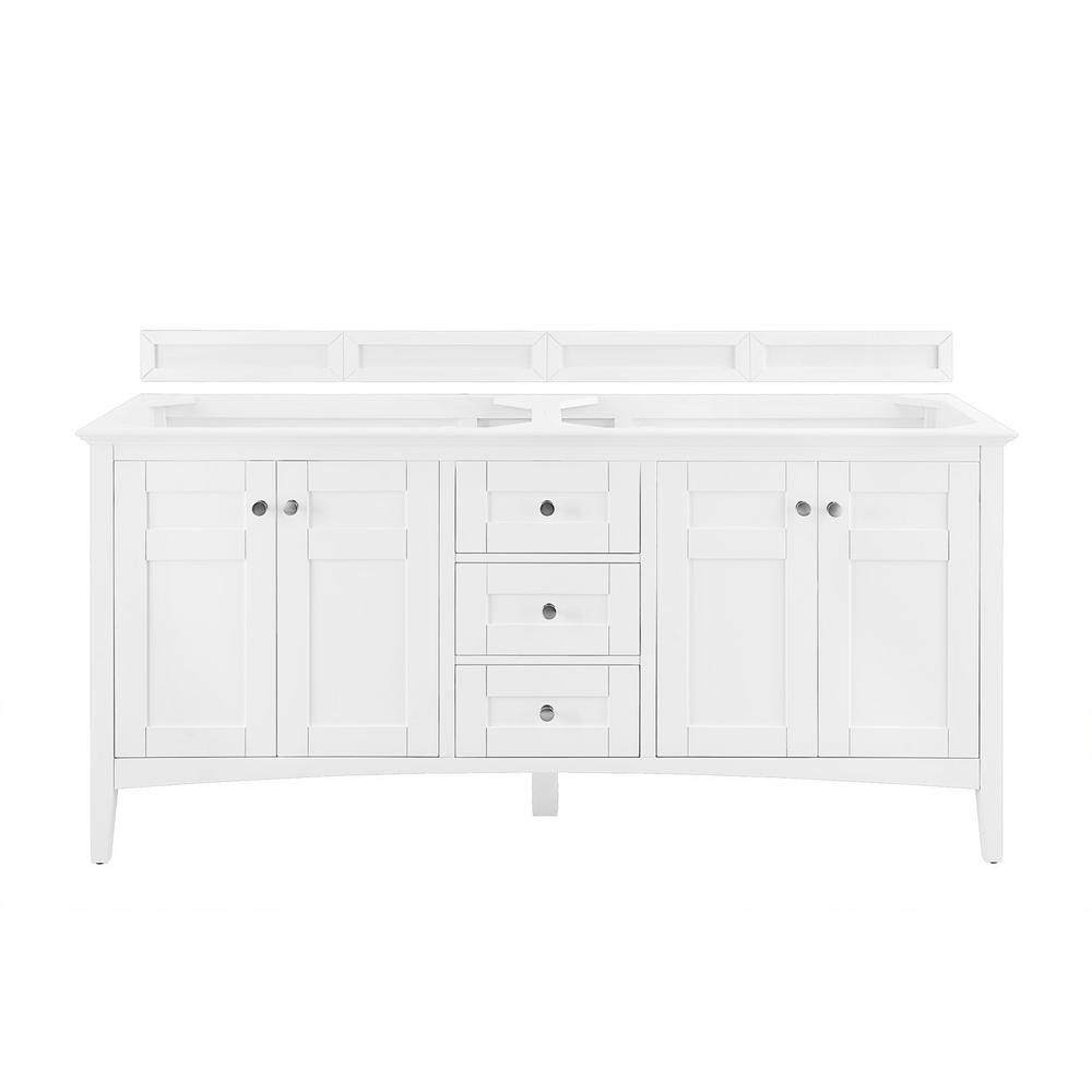 Palisades 72 in. Single Bath Vanity in Bright White with Quartz Vanity Top in Grey Expo with White Basin
