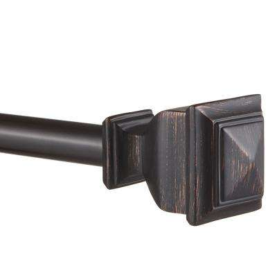 36 in. - 72 in.Adjustable Length 1 in. Dia Single Curtain Rod Kit in Matte Bronze with Napoleon Finial