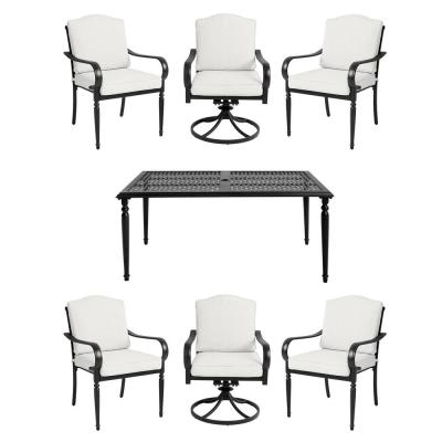 Laurel Oaks 7-Piece Brown Steel Outdoor Patio Dining Set with CushionGuard Chalk White Cushions