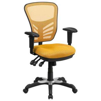 Mid Back Yellow Orange Mesh Swivel Task Chair With Triple Paddle Control