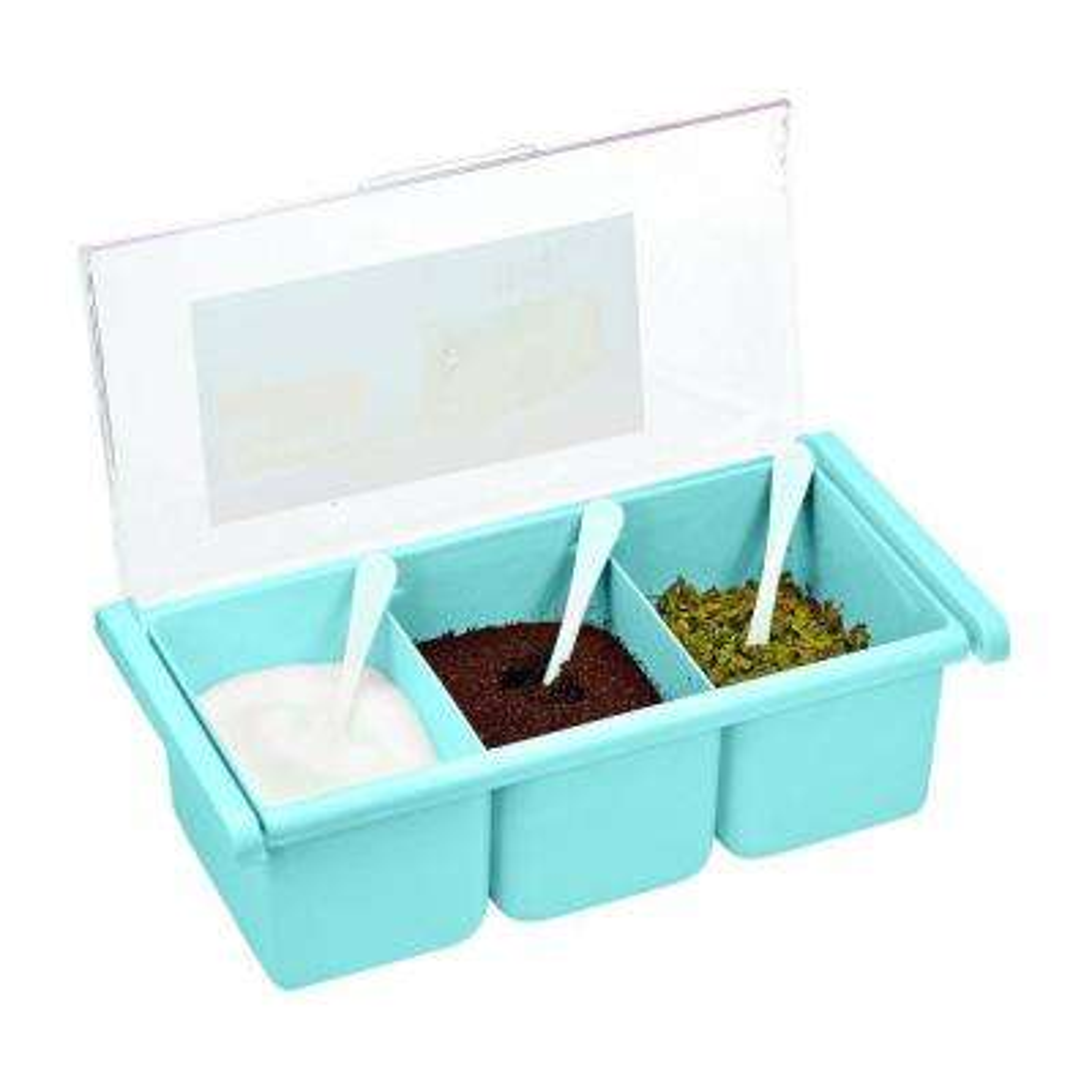 3-Compartment Acrylic Blue Seasoning Box