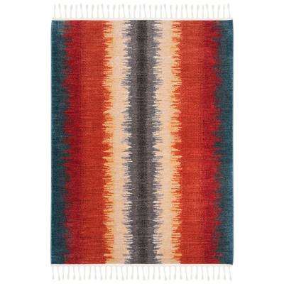 Farmhouse Navy/Orange 5 ft. x 7 ft. Area Rug
