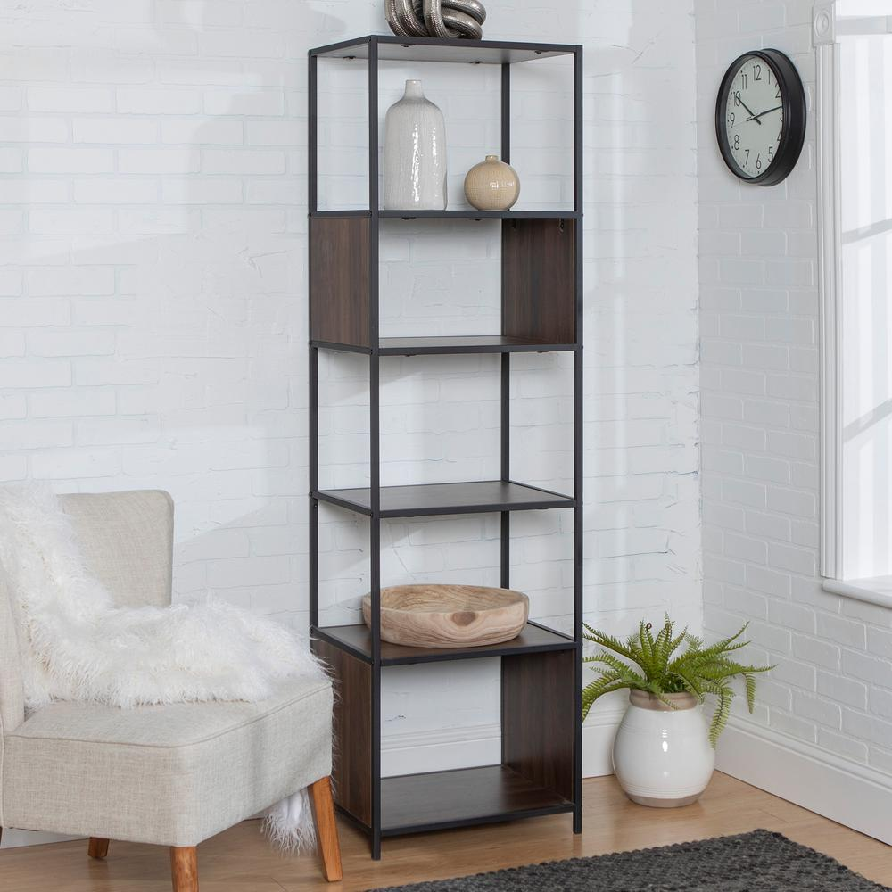 70 in. Dark Walnut Metal and Wood Tower
