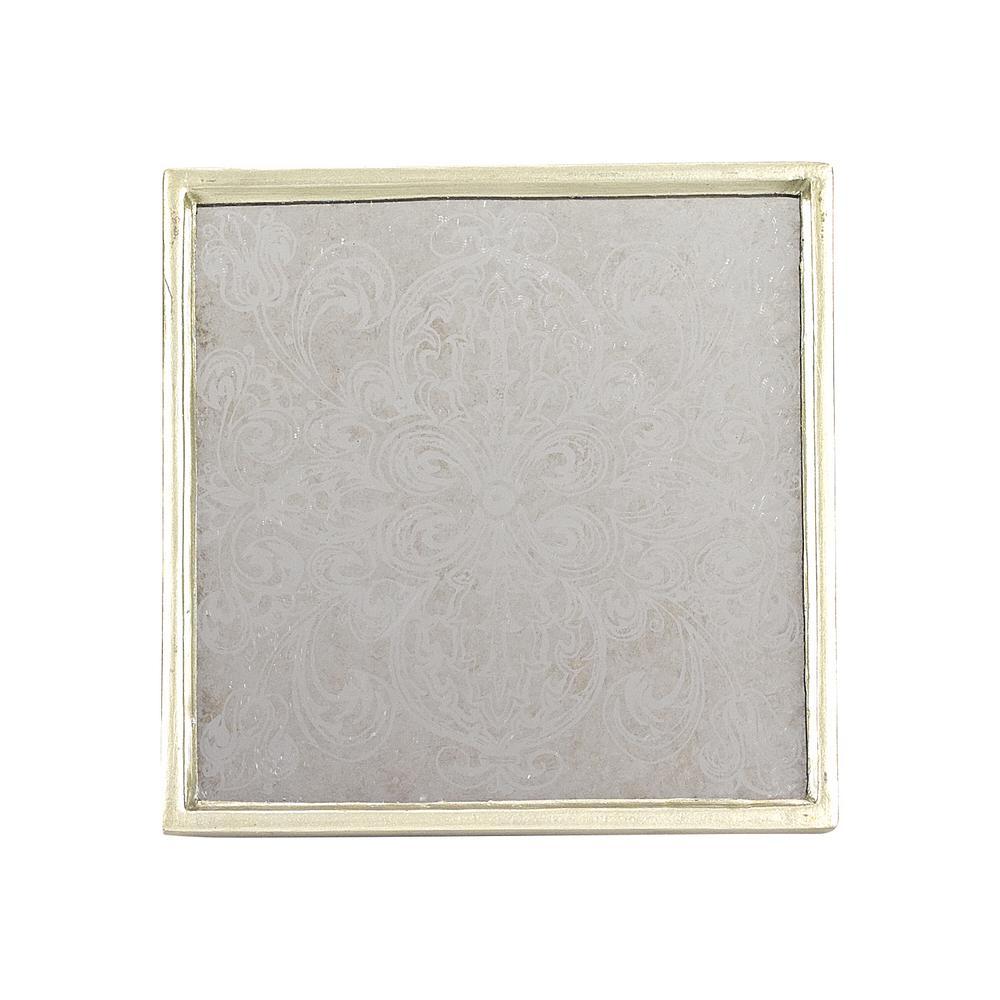 4 in. 4-Piece Square Manta Silver Coaster Set