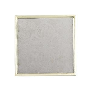 4 inch 4-Piece Square Manta Silver Coaster Set by