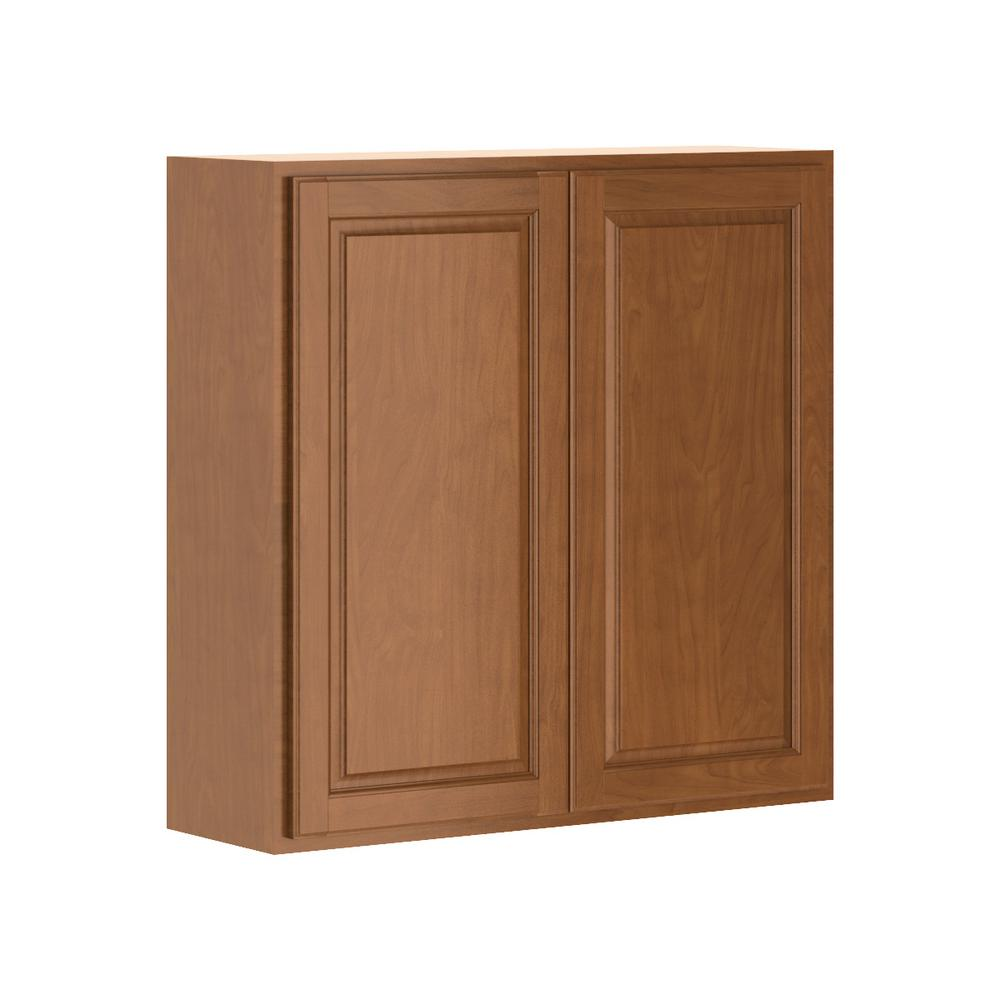 hampton bay madison assembled 36x36x12 in wall cabinet in cognac w3636 mcog the home depot. Black Bedroom Furniture Sets. Home Design Ideas