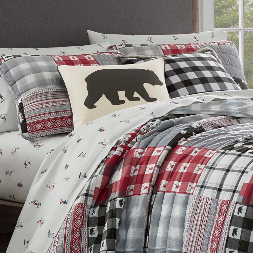 Mount Baker Red Plaid Cotton Quilt Set