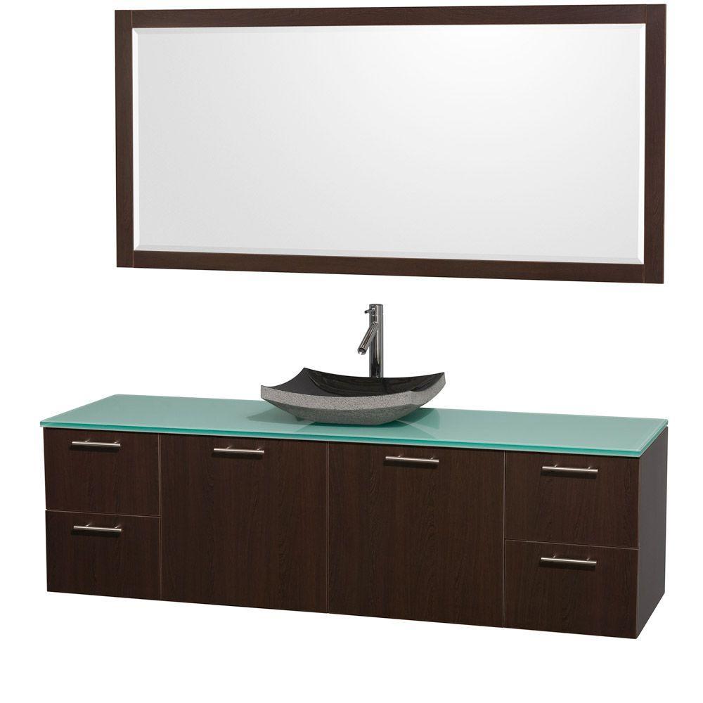 Amare 72 in. Vanity in Espresso with Glass Vanity Top in Aqua and Black Granite Sink