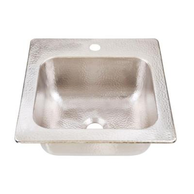 Homer Drop-in Nickel 15 in. 1-Hole Single Bowl Kitchen Sink with Brushed Finish