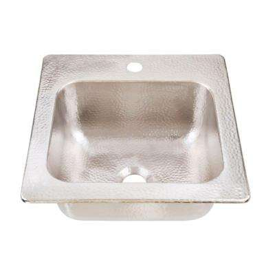 Homer Drop-in Handcrafted 15 in. 1-Hole Bar Prep Single Bowl Kitchen Sink in Hammered Nickel
