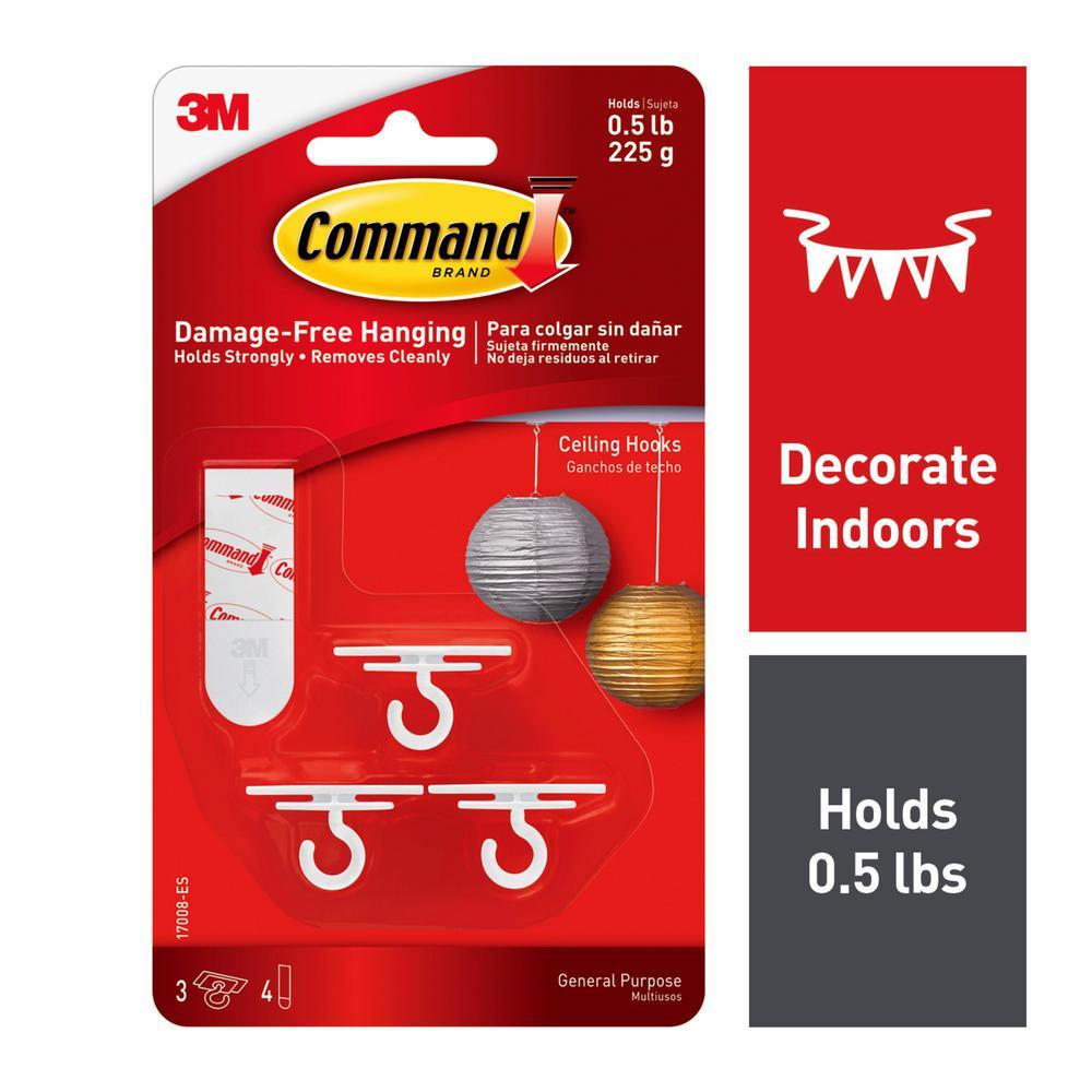 4-Adhesive Strips Ceiling Hooks 3-Hooks