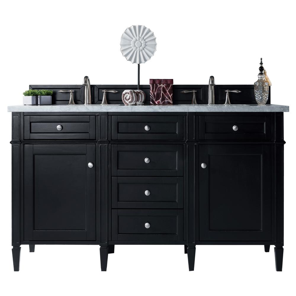 James Martin Vanities Brittany 60 in. W Double Bath Vanity in Black Onyx with Soild Surface Vanity Top in Arctic Fall with White Basin
