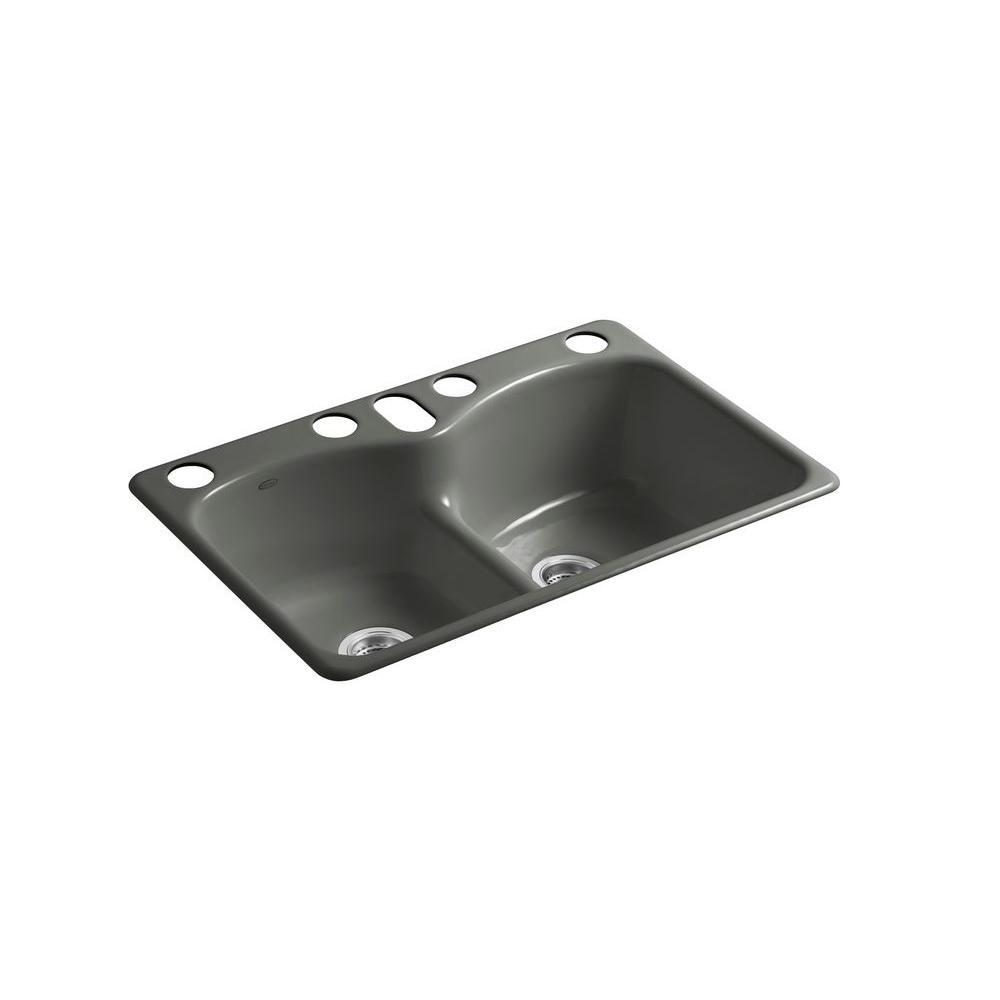 Kohler Langlade Smart Divide Undermount Cast Iron 33 In 6
