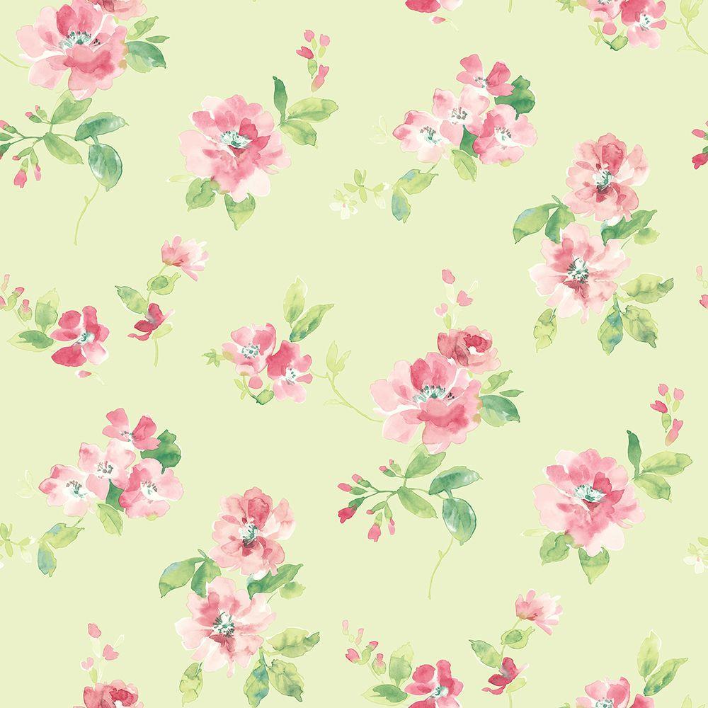 Chesapeake Captiva Mint Floral Toss Wallpaper
