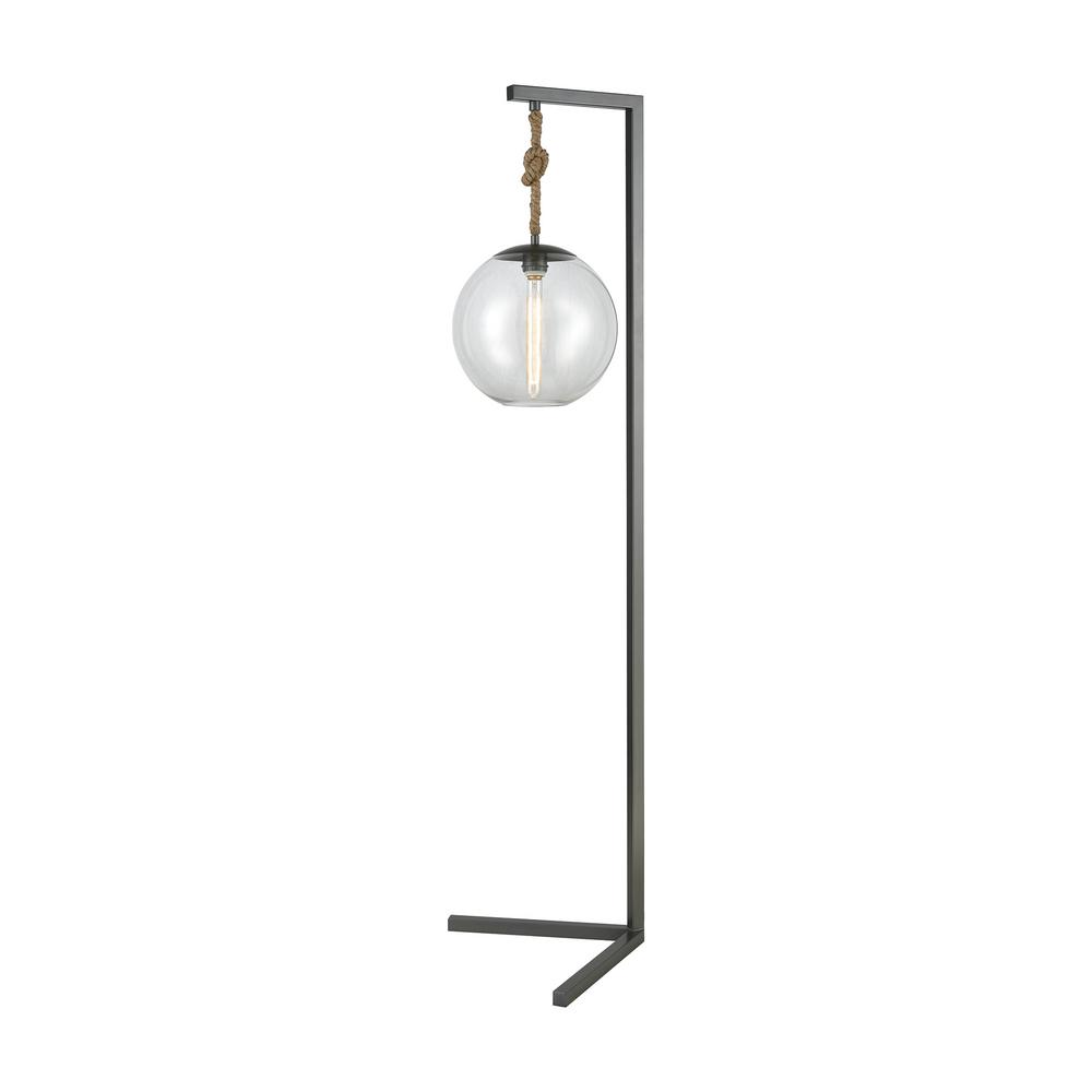 Pewter And Clear Floor Lamp