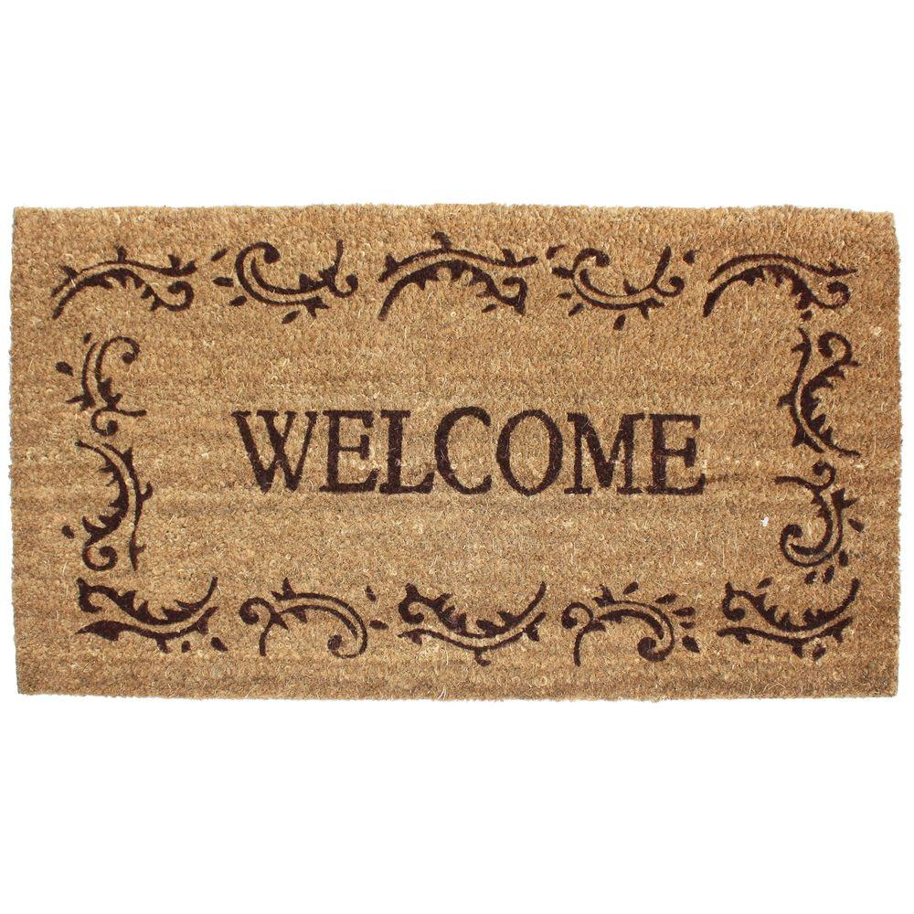 J & M Home Fashions Welcome Filigree 24 in. x 36 in. Vinyl Back Coco Door Mat