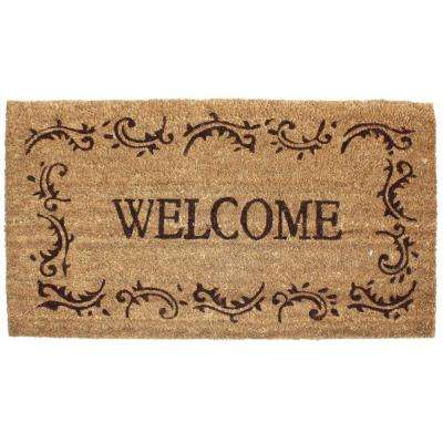 Welcome Filigree 24 in. x 36 in. Vinyl Back Coco Door Mat