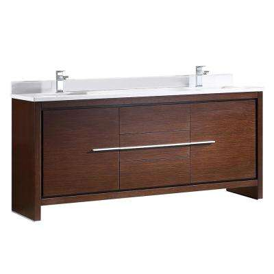 Allier 72 in. Double Vanity in Wenge Brown with Glass Stone Vanity Top in White with White Basin