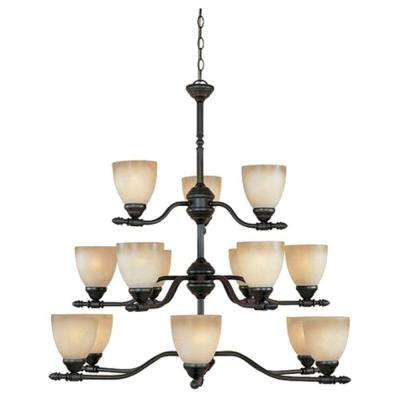 Lincoln Collection 15-Light Oil Rubbed Bronze Hanging Chandelier
