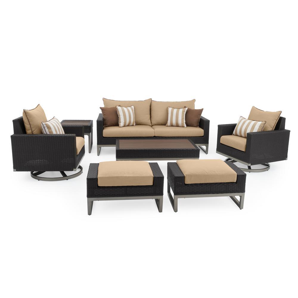 Milo Espresso 7-Piece Wicker Motion Patio Deep Seating Conversation Set with Sunbrella Maxim Beige Cushions