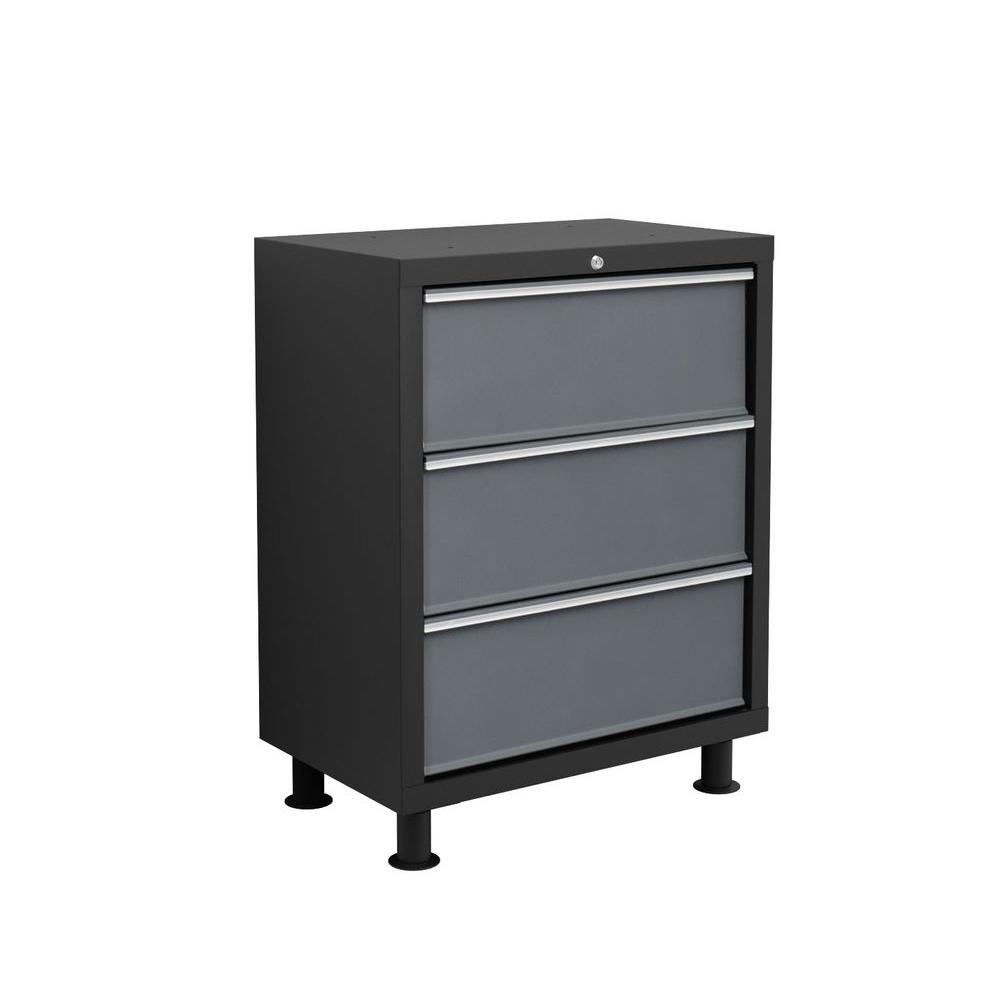 NewAge Products Bold Series 37 in. H x 26 in. W x 16 in. D 3-Drawer 24-Gauge Welded Steel Tool Chest in Gray