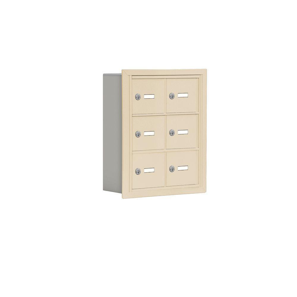 Salsbury Industries 19000 Series 17.5 in. W x 20 in. H x 5.75 in. D 6 A Doors R-Mount Keyed Locks Cell Phone Locker in Sandstone
