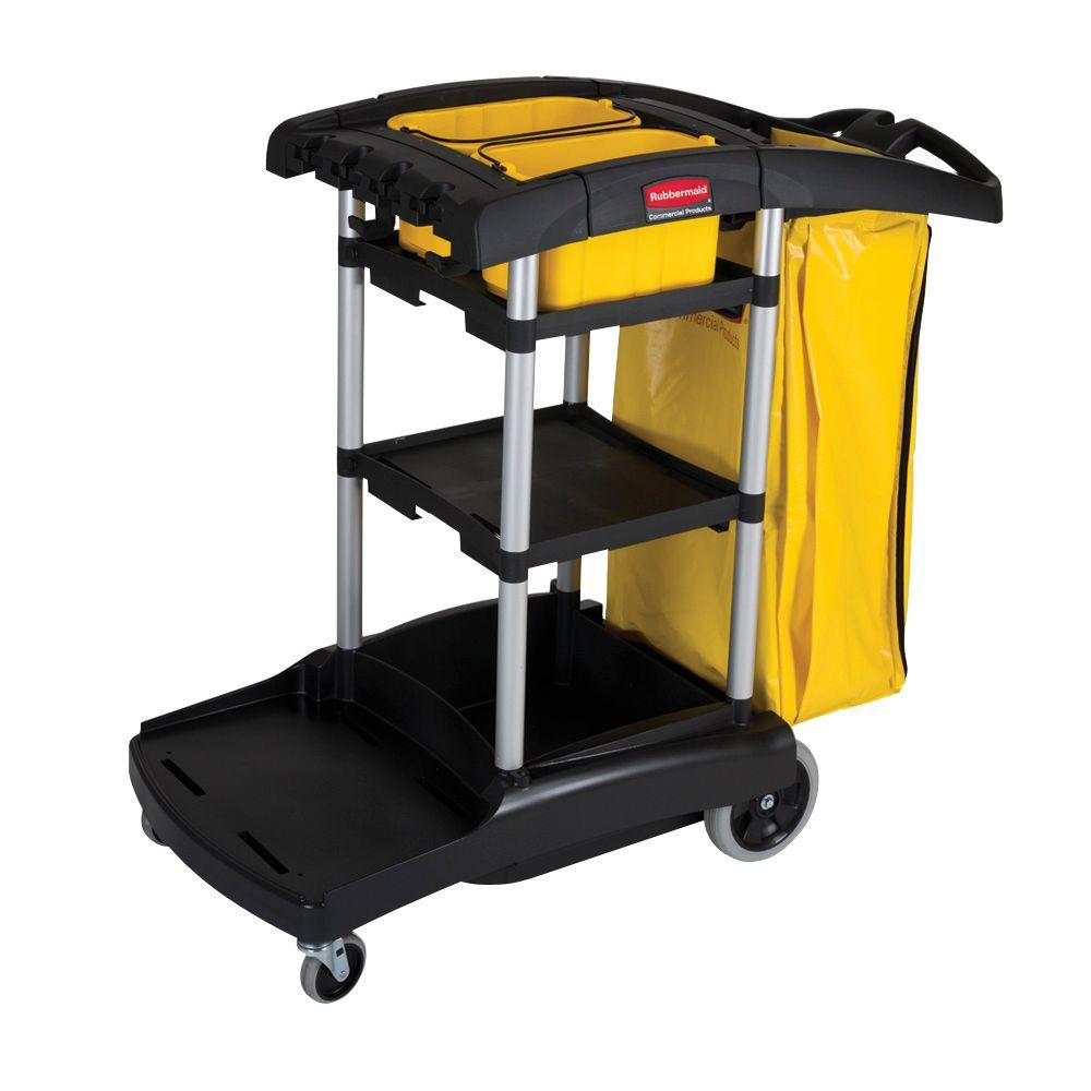 High Capacity Cleaning Cart, Black