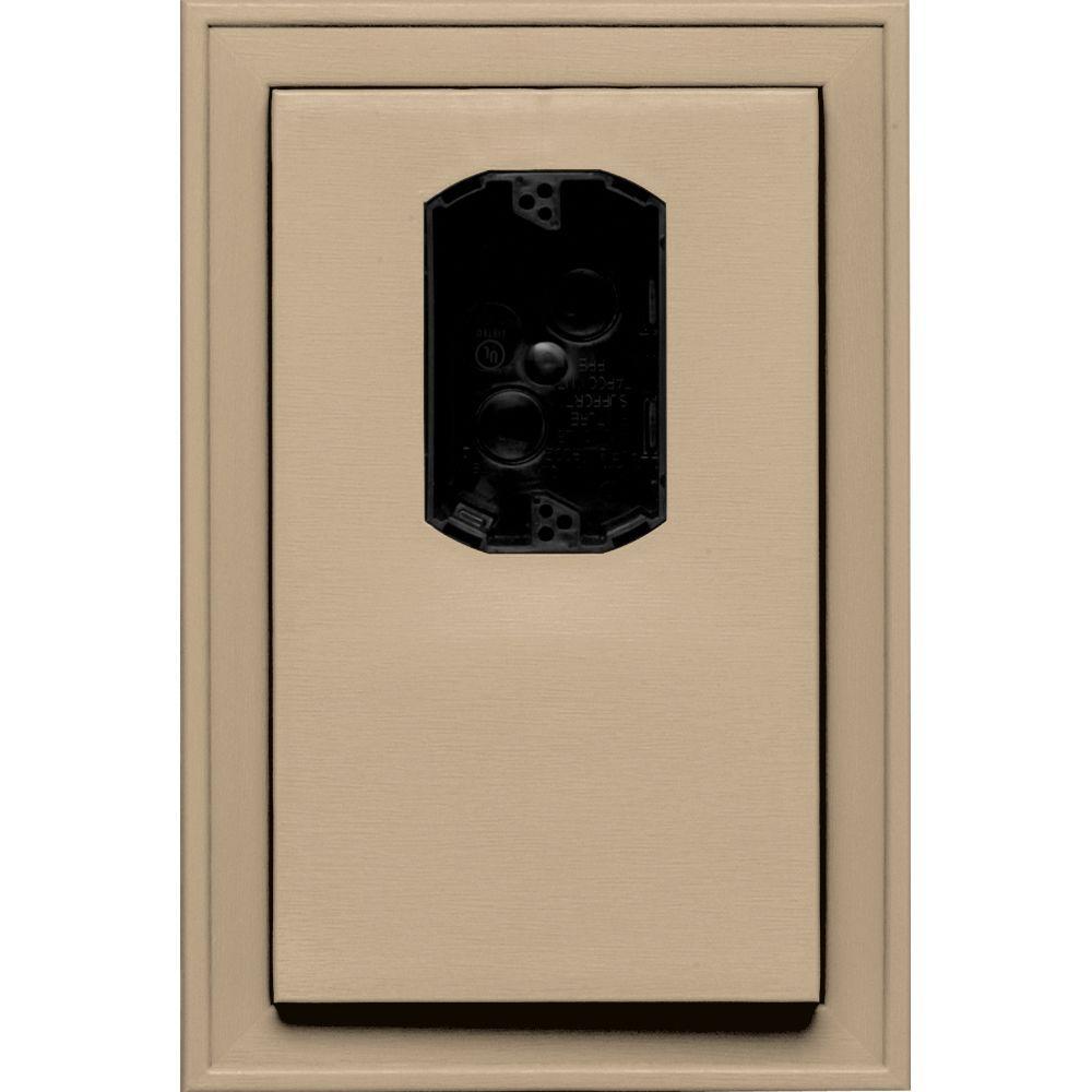 Builders Edge 8.125 in. x 12 in. #069 Tan Jumbo Electrical Mounting Block Offset