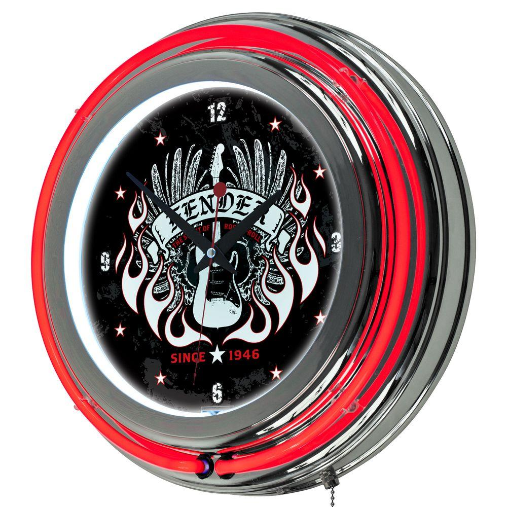 Trademark 14 in. Fender Spirit of Rock and Roll Double Ring Neon Wall Clock