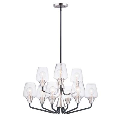 Goblet 27 in. W 9-Light Black/Satin Nickel Chandelier with Clear Shade