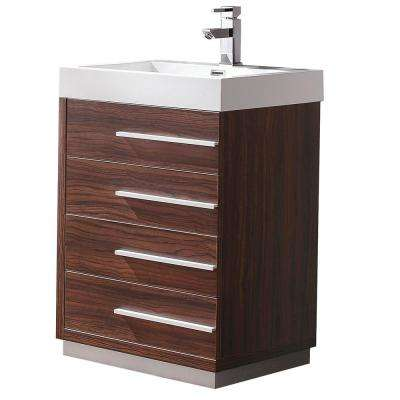 Livello 24 in. Bath Vanity in Walnut with Acrylic Vanity Top in White with White Basin