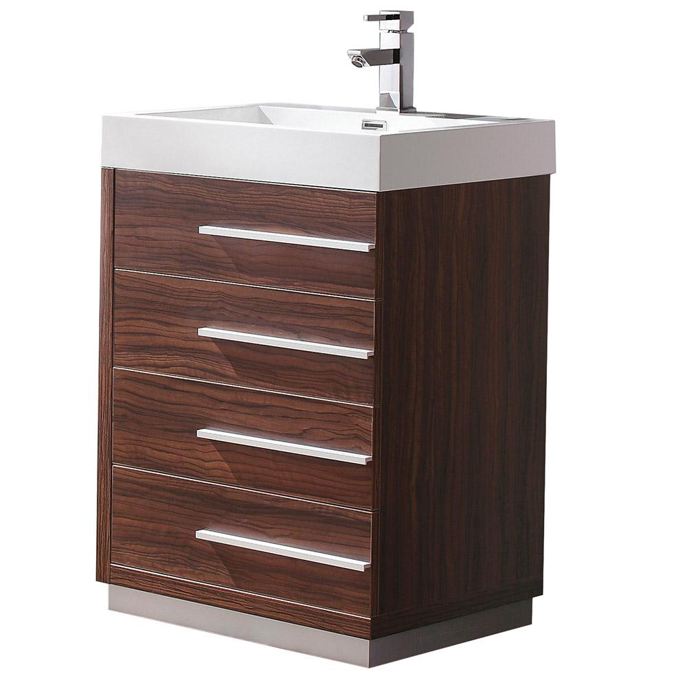 Livello 24 in. Bath Vanity in Walnut with Acrylic Vanity Top