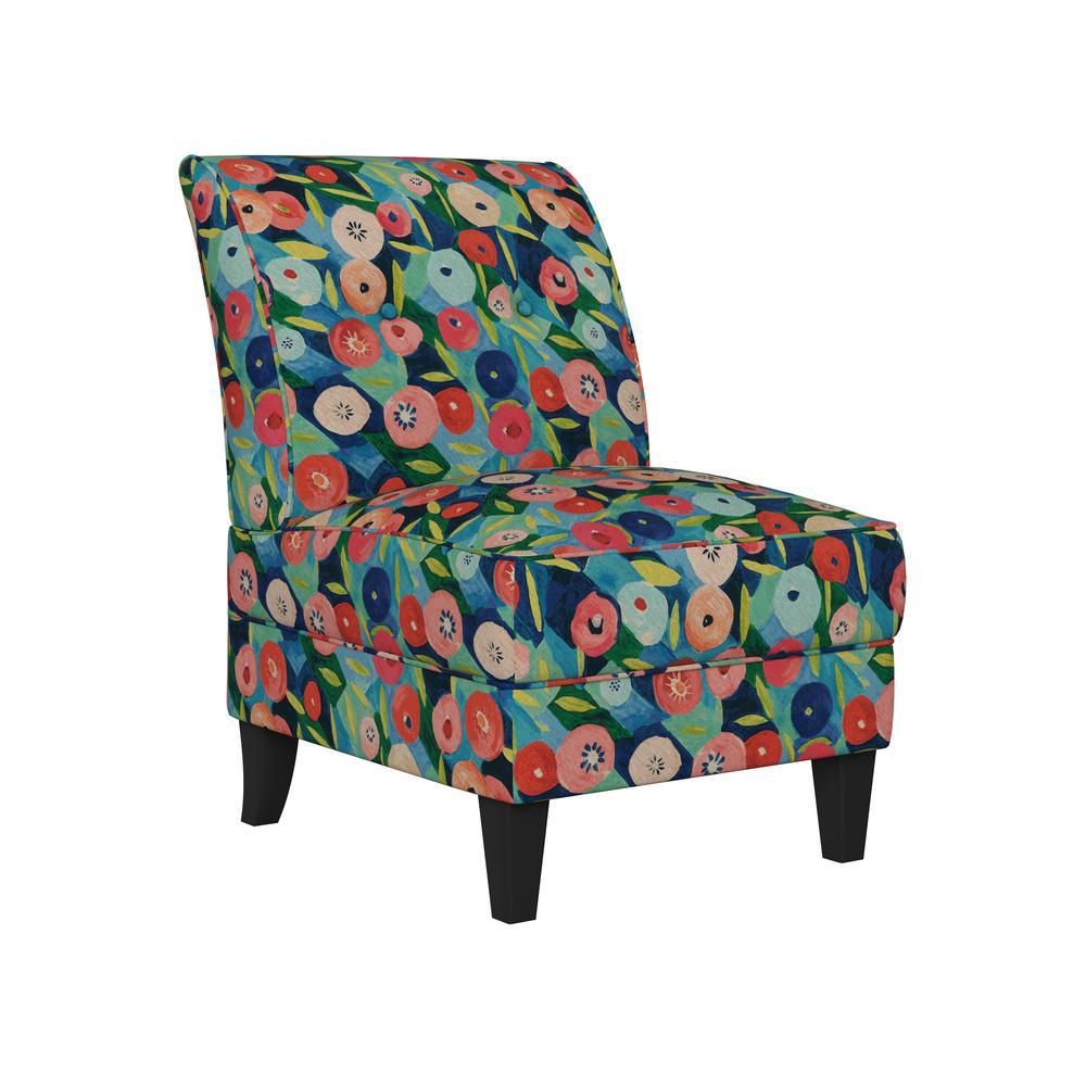 Shumer Modern Vibrant Poppy Floral Print Slipper Chair