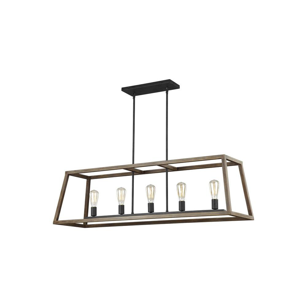 Feiss Gannet 50 in. W. 5-Light Weathered Oak Wood and Antique Forged Iron Island Chandelier