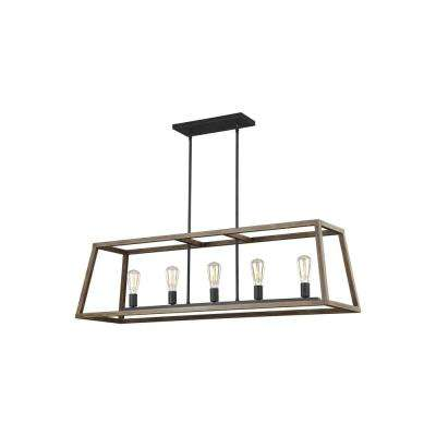 Gannet 5-Light Weathered Oak Wood and Antique Forged Iron Island Chandelier