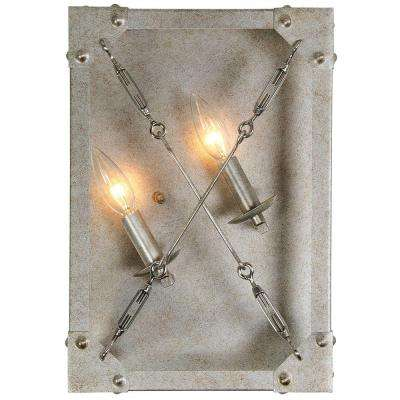 Askew 2-Light Silver Age Left Orientation Wall Sconce