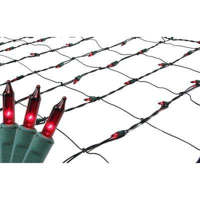 4 ft. x 6 ft. Red Mini Net Style Christmas Lights with Green Wire