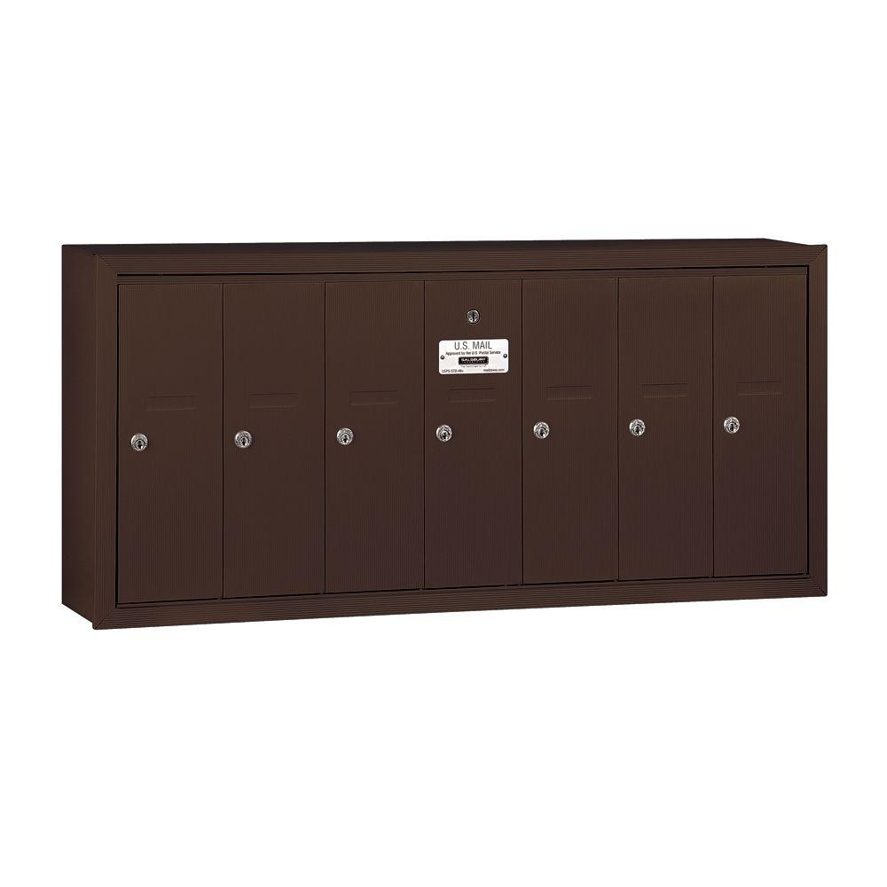 Salsbury Industries 3500 Series Bronze Surface-Mounted Private Vertical Mailbox with 7 Door