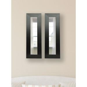 10 inch x 36 inch Black Wide Leather Vanity Mirror (Set of 2-Panels) by