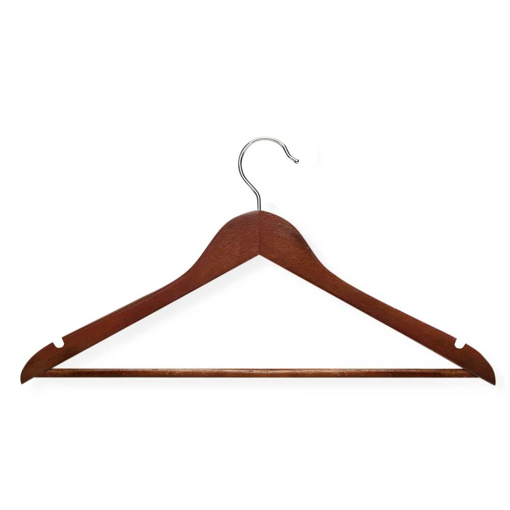 No Slip Wooden Coat Hangers Cherry Wood 24 Pack