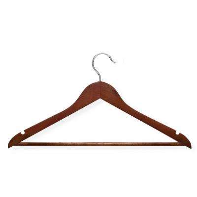 No Slip Wooden Coat Hanger, Cherry Wood (24-Pack)