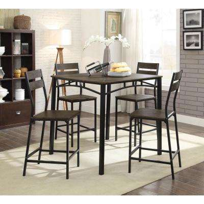 Westport Rustic Style Counter Height Table Set in Antique Brown and Black (5-Piece)