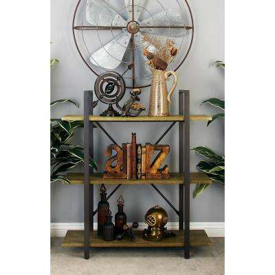 stained beige 3tier shelf with matte brown frame
