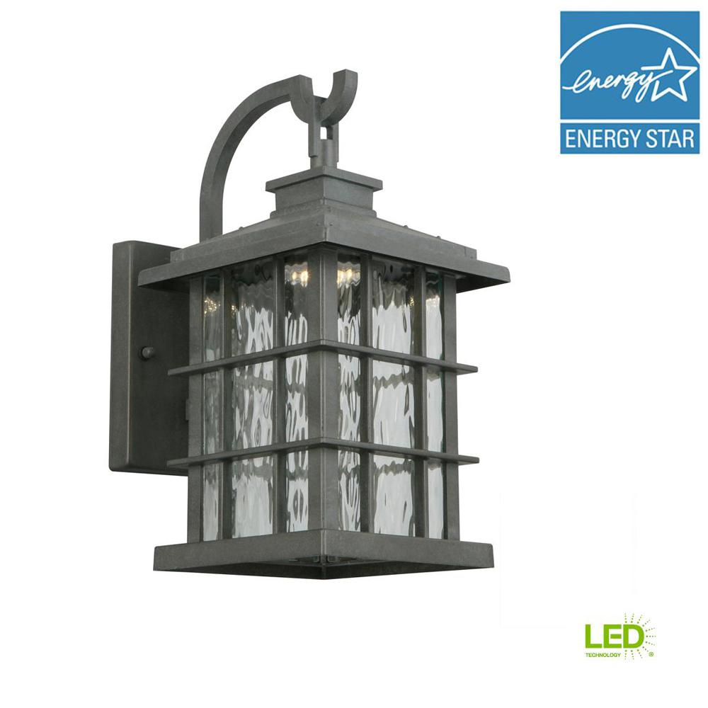 423b2553b77 Home Decorators Collection Summit Ridge Collection Zinc Outdoor Integrated  LED Dusk-to-Dawn Medium Wall Lantern-CQH1691L-5 - The Home Depot